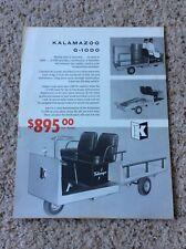 1962 Kalamazoo manufacturing co. , G-1000 cargo hauler, sales information.