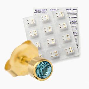 EAR PIERCING STUDS EARRINGS STUD CERTIFIED STERILE GOLD SILVER COLOUR 3mm