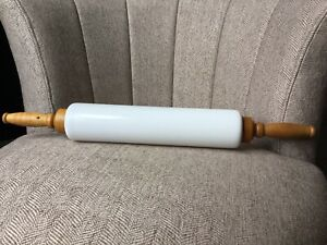 1921 Imperial Manufacturing Cambridge Ohio White Glass and Wood Rolling Pin