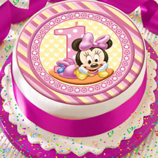 MINNIE MOUSE HAPPY 1ST BIRTHDAY PINK CANDLE  7.5 INCH PRECUT EDIBLE CAKE TOPPER