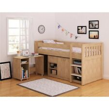 Kids Mid Sleeper Bed Oak Shelving Desk Storage Loft Cabin Wooden Frame Bedroom