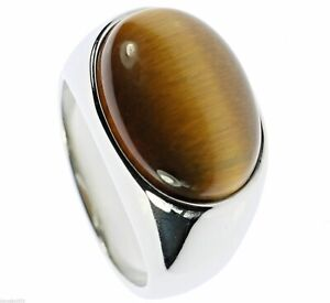 Oval Tiger Eye Polished Stainless Steel Mens Ring Size 8 T25