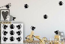Nursery Birds Decals   Set of 9 Cartoon Birds Vinyl Stickers   Babies decor  B&G