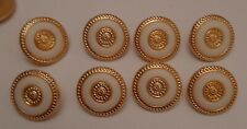 8 x 14mm Gold and White Ring Effect Plastic Shank Buttons - B0036