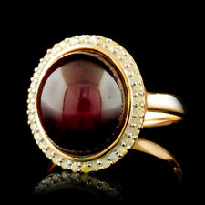 WJA CERTIFIED Cabachon Ruby 11.45CTW & Diamonds .24CTW Vermeil Sterling Ring