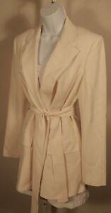 THEORY NWT Women's Cream Yellow Eco Rosina Crepe Belt Blazer Sz 6 ($535)