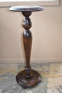 Antique Walnut Wood Pedestal Plant Stand