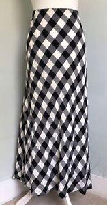 LAURA ASHLEY Vtg 90s Black White Gingham Bias Cut Maxi Skirt UK 14 Elastic Waist