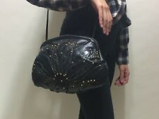 Vintage 80s Leather Bag Sling Purse Black Grunge Glam Studded & Textured