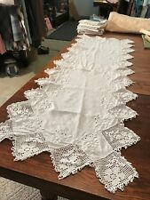ANTIQUE LINEN RUNNER EXQUISITE LACE BLOCK EDGING/CUTWORK