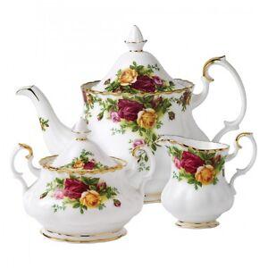 ROYAL ALBERT OLD COUNTRY ROSES TEA POT, CREAMER, SUGAR & COMPLETER SET