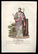 santino incisione 1800 S.ACACIO V. DI AMIDA. dip. a mano