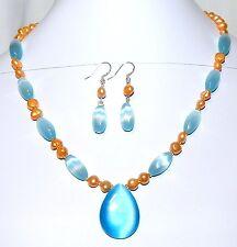 GN135A Blue Cat's Eye Glass Teardrop Pendant & Pearl Silver Necklace & Earrings