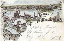 NÖ: Gruß aus Wolkersdorf Litho 1898 Hauptstrasse, Maria Lourds Kapelle usw...