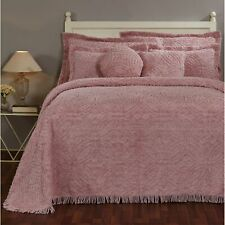 "Double Wedding Ring Chenille Bedspread Queen 102""X110"" in - Pink"