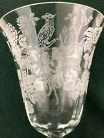 Morgantown Cathay Crystal Etched Floral Bird Peacock Glass