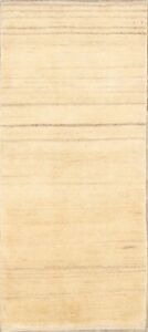 """Contemporary Solid Ivory Modern Gabbeh Hand-knotted Runner Rug 2' 8"""" x 6' 2"""" New"""