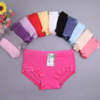 6/12x lot #L Sexy Soft Bamboo Fiber Natural underwear lace triangle waist brief