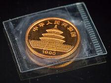 1990 25 Yn 0.25Oz China Gold Panda, Small Date, Sealed in Original Pouch