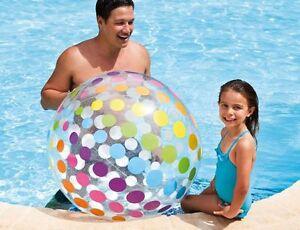 "New Intex Inflatables Kids Jumbo 107cm 42""  Dia Sturdy Beach Ball Quality"