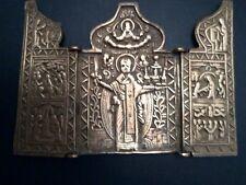Icône russe bronze 1800-1900 triptyque