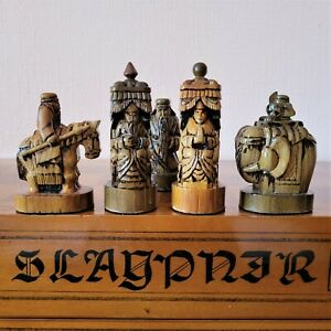Soviet chess set Wooden asian vintage carved USSR russia antique