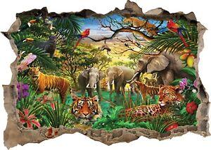 Jungle Animals 3D Wall Sticker Art Poster Decals Murals Kids Room Nursery Z21
