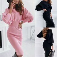 Women's Sexy Slim Dress Lady Long Sleeve Round Neck Bodycon Ball Gown Dress