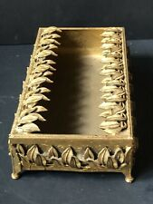 Vintage *Gold Gilt Hollywood Ornate Tissue Kleenex Holder Cover Antique Leaves