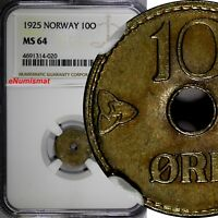 NORWAY Copper-Nickel 1925 10 ORE NGC MS64 TOP GRADED COIN BY NGC KM# 383