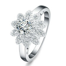 beautiful Fashion silver Pretty Crystal women wedding Ring 925 Flower stone cute