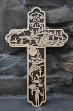 Fisherman's Fishing Rod  Scrolled Wooden Cross Wall Hanging Amish Made