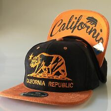 California Republic Snapback Hat Corduroy Baseball Cap Cali Bear Black Orange