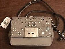 Michael Kors Tina Floral Stud Small Clutch Bag Crossody Pearl Gray Perforated