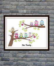 Cute Personalised Owl Family Tree Word Art Print - Perfect Gift Idea Mum, Gran