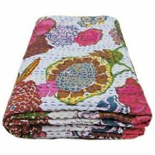 Vintage Floral Print Handmade Kantha Quilt white Indian Cotton Queen Blanket