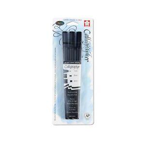 Sakura 50319 3-Piece Pigma Blister Card Calligrapher Pen Set, Black