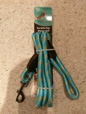 PET TRENDS DURABLE DOG LEASH UP TO 110 LB 6ft puppy light blue green/orange