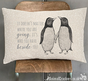 'Its who you have beside you' East of India Cushion Penguin lover Valentine gift