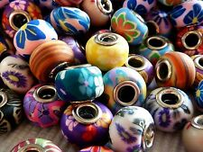 5 Polymer Clay Perlen Element European Bead Mischung Spacer Rondell 15 mm 1223