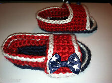Red White Blue BABY SANDALS FLIP FLOPS SHOES CROCHET Size 3-6 Mo RED WHITE BLUE