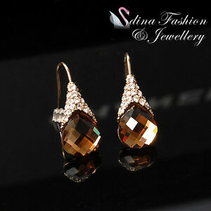 18K Rose Gold GP Made With Swarovski Crystal Exquisite Coffee Dangle Earrings