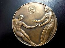 LARGE BRONZE ART- DECO MEDAL BY DUPONT, NUDE MAN, LIEGE / 80 mm / N106