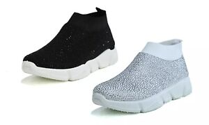 Ladies New Sparkly Glitter Sneakers Trainers Casual Slip On Shoes UK Sizes 2-8