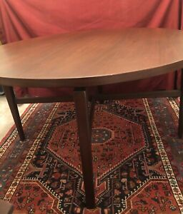 "Jens Risom Floating Round Dining Table Walnut 48"" With Table Pads"