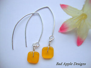 Square Yellow Frosted Sea Glass Silver Marquise Dangle Earrings Beach Boho