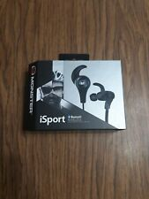 Black Monster iSport Bluetooth Wireless In-Ear Headphones Earbuds New Open Box