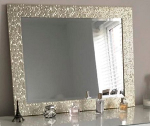 New Large Mosaic Silver Wall Mirror Bedroom Hallway Hanging Wall Gift 59X49cm