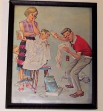 """Vintage 1930's Lithograph Artist Signed """"Getting the Works"""" ~ Hair Cut Scene"""