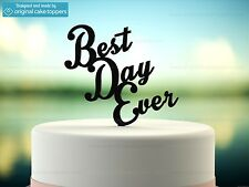 """""""Best Day Ever"""" - Black - Wedding Cake Topper - Made by OriginalCakeToppers"""